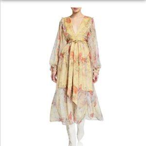NWT Caara Floral Balloon-Sleeve Ruffle Midi Dress